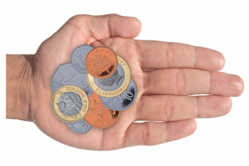Coins held in a hand